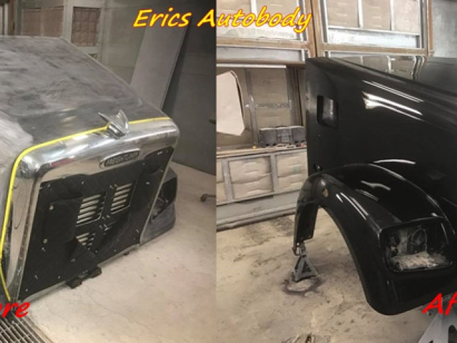Semi Truck Front Bumper Spray Painted Black