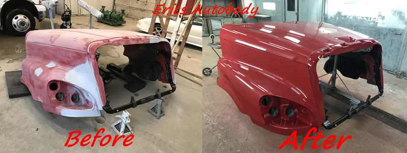 Semi Hood Painted Red